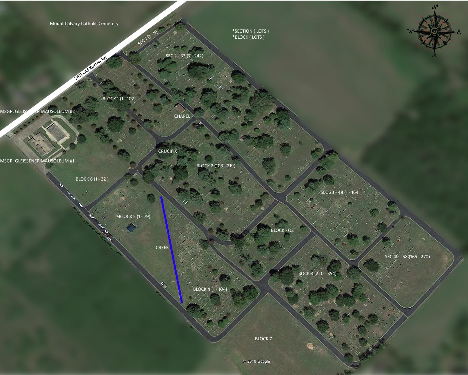 Mount Calvary Cemetery Layout